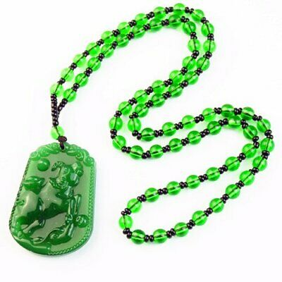 """Carved Green Jade Bull & Green Crystal Ball Pendant Necklace 17.5"""" S32803"""