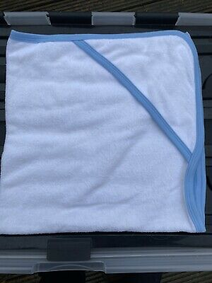 New Blue Trim White Cotton Hooded Baby Towel