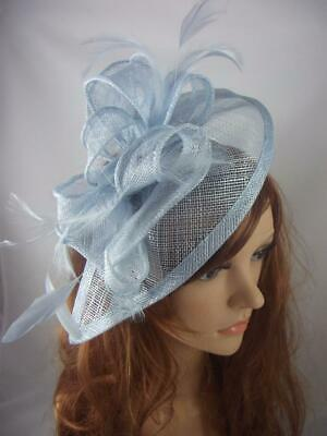 Pale Blue Teardrop Sinamay Fascinator with Feathers - Occasion Wedding Races