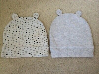 CUTE BABY BOY 2 x HATS WITH EARS BUNDLE GREY & WHITE WITH STARS ONE SIZE REE P&P