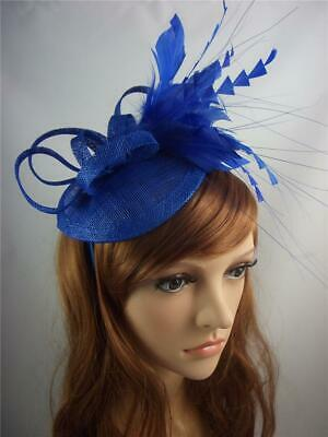 Royal Blue Sinamay Fascinator with Feather Flower - Ascot Wedding Races