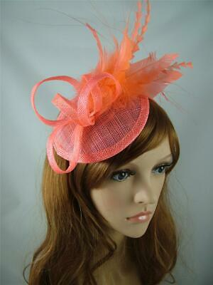 Coral Pink Sinamay Fascinator with Feather Flower - Ascot Wedding Races