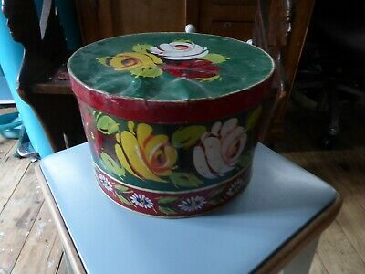 Vintage Barge Painted Effect Cake Tin. Folk Art. Not hand painted but lovely.