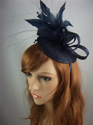 Navy Blue Sinamay Fascinator with Feather Flower - Ascot Wedding Races