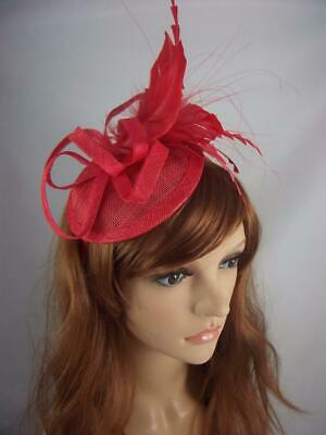 Red Sinamay Fascinator with Feather Flower - Ascot Wedding Races