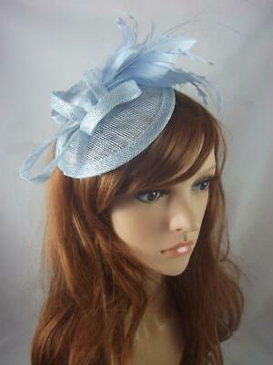 Pale Blue Sinamay Fascinator with Feather Flower - Ascot Wedding Races