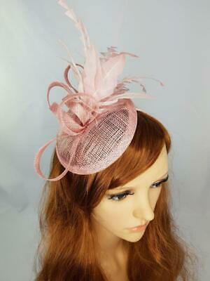 Blush Pink Sinamay Fascinator with Feather Flower - Ascot Wedding Races