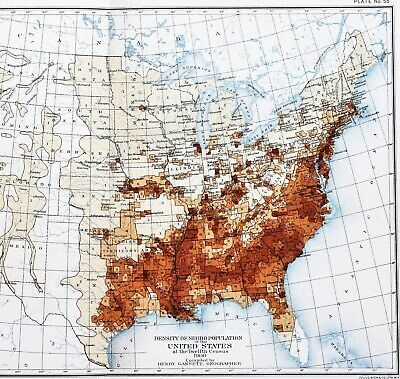 1900 United States Map NEGRO POPULATION Kentucky Texas Georgia Florida EXRARE
