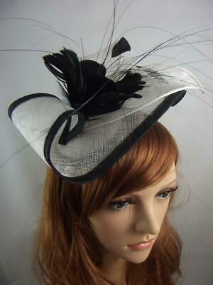 Black & White Leaf Sinamay Fascinator with Feather Flower - Hat Wedding Races