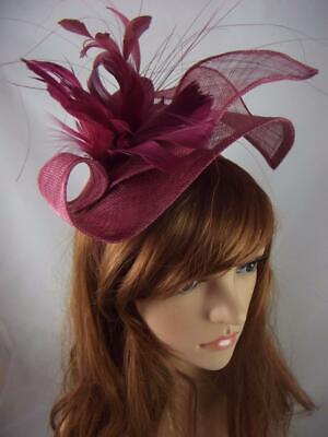 Wine Pink Leaf Sinamay Fascinator with Feather Flower - Hat Wedding Races
