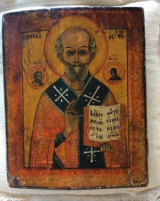 RUSSIAN ANTIQUE ICON HAND PAINTED ST NICHOLAS 19TH CENTURY on WOOD