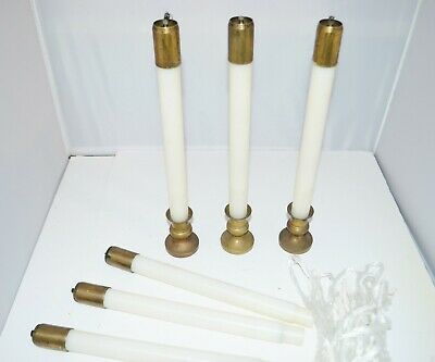 "Liquid Church Candles, 11"" H, with Brass top and base."