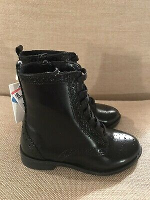 NWT Zara Kids Girls Leather Ankle Boots With Side Zipper Black Size 11 EU 28