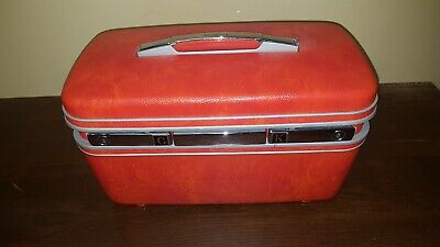 Vintage Samsonite Train Case Mid Century Retro Orange