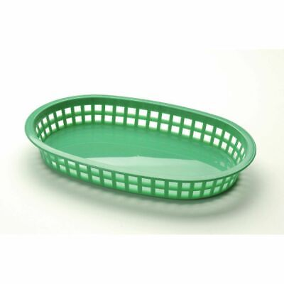 "Tablecraft® Classic Oval Chicago Platter Green Plastic Serving Basket - 10 1/2""L"