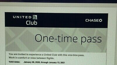 Two (2) United Airlines UA Club One Time Passes Fast E- Delivery (EXP 1/13/2021)