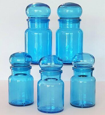 Retro 1970's *5 BLUE GLASS APOTHECARY JARS/BUBBLE LIDS* Made in Belgium 2 Sizes