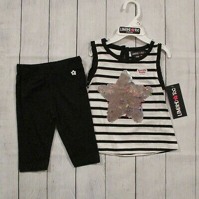 Limited Too Baby Girls Black & White Striped 2 Piece Shorts Set Size 12 Months