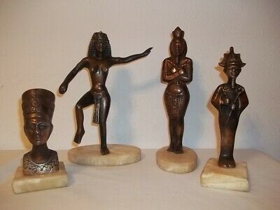 Egyptian Bronze Statues on Marble Base Lot of 4