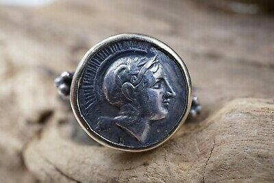 Ancient DRACHMA ATHENA GREEK ORIGINAL COIN Ring, Sterling & 14K Gold, Sz 8.5