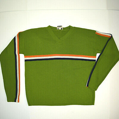 VANITY Pullover Knit Shirt vtg 60s Mid Century Bright Avocado Racing Stripe