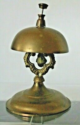 Vintage Brass Hotel Desk Service Bell on Stand
