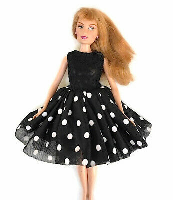 New Barbie doll clothes party evening clothing black & white spotted party dress