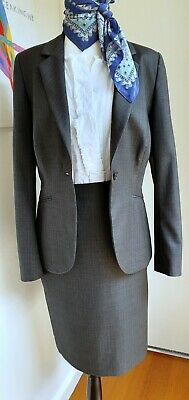 JIGSAW Two Piece Suit 100% Wool Jacket Skirt Corporate Stunning! Size 10 12 Grey