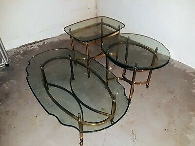 1960 Italian Labarge Vintage Glass Tables