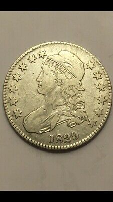 1829 Capped Bust Silver Half Dollar VF-XF Details Lettered Edge Rare Beautiful