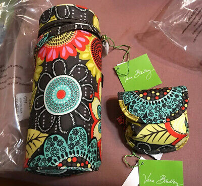 NWT Vera Bradley Bottle Caddy insulated carrier + pacifier pod in Flower Shower