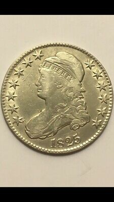 1825 Capped Bust Silver Half Dollar CHOICE AU-UNC High Grade Lettered edge Rare