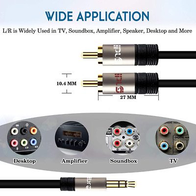 IBRA RCA Audio Cable, 2 Phono Male to 3.5mm Headphone Jack Aux Stereo Y Splitter
