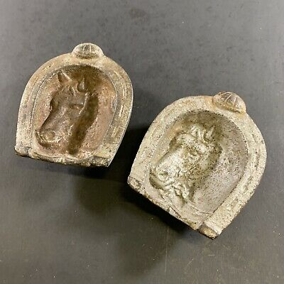 Lot X2 Antique Victorian Cast Iron Horse Shoe Horsehead Figural Ash Trays