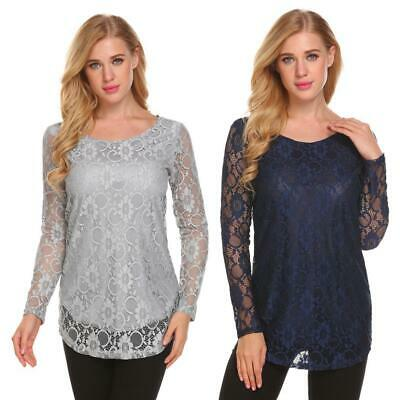 Women Casual Round Neck Long Sleeve Floral Lace Flared T Shirt Top DKVP