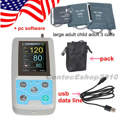 24H NIBP Holter Ambulatory Blood Pressure Monitor Adult Child w PC SW, USA