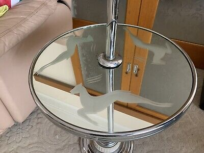 Vintage Art Deco Smokers Stand Side Table With Lamp And Deer Mirror Glass 1930s