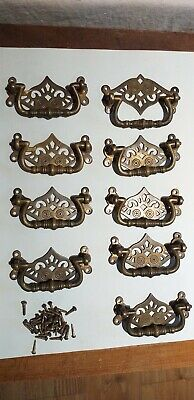 set of 9 antique original victorian solid brass handles