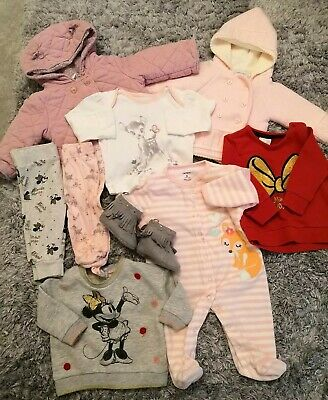 Baby Girls Clothes Winter Bundle - 3-6 M designer, Disney Minnie, Bambi + coat