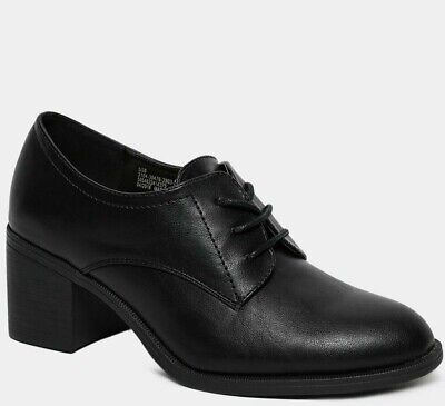 New Ladies Black Faux Leather Lace-Up Oxford Brogue Work Casual Shoes Sizes