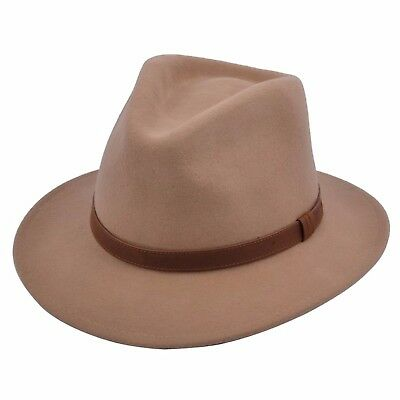 Gents Crushable Camel 100% Wool Felt Trilby Fedora Hat With Leather Type Band