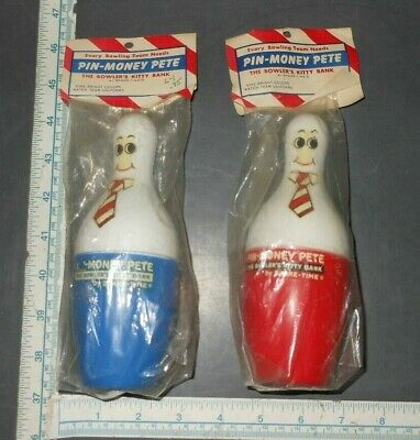 "2 Unique ""Pin Money Pete"" Vintage Bowling Accessory Original Packaging Bank"
