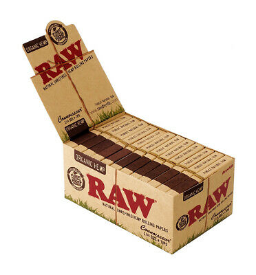 1 Box (24 Heftchen) RAW Organic Hemp Connoisseur 1 ¼ Papers + Tips, 50 + 50