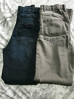 Boys Bundle 2 x JEANS age 13 Skinny 1x Black 1x Grey Adjustable waist