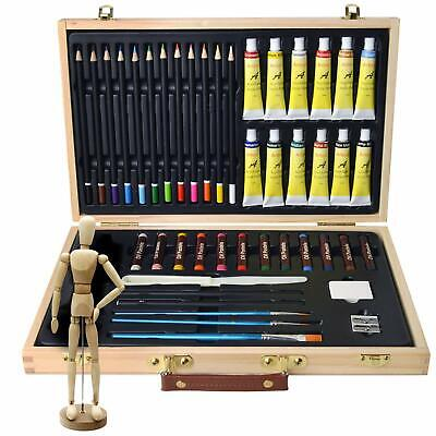 45 Artist Set Art Case for Drawing Sketching Painting Acrylic Pastels Brushes