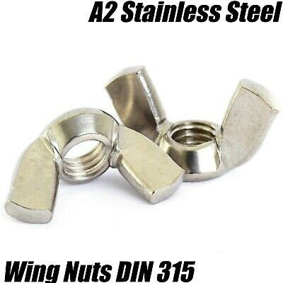 M6 6mm A2 STAINLESS STEEL WING NUTS BUTTERFLY NUT HAND NUTS DIN 315