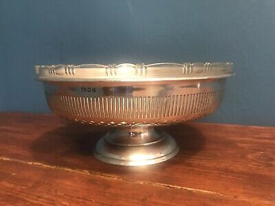 Victorian Silver Hallmarked Fruit Bowl With Glass Liner