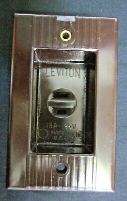 Leviton Recessed Clock Outlet Brown Bakelite Art Deco Ribbed Lines 15A Vintage