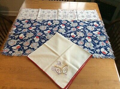 Lot of  3 Tablecloths  2 Vtg  Prints New & 1 Hand Embroidered  Card Suits Used