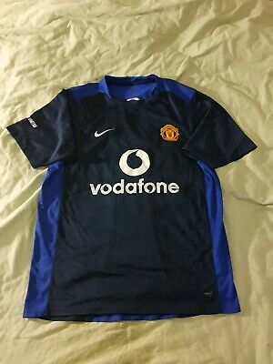 Vintage Nike Manchester United Training Football Shirt Size L Vodafone 2000s